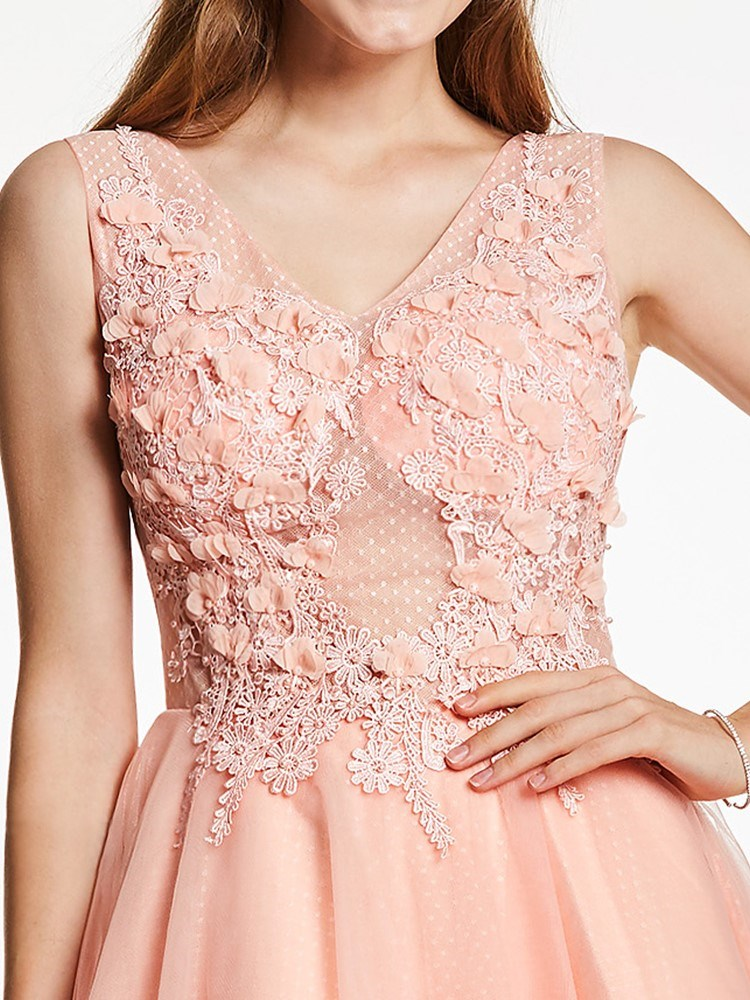 Size US12 US14 Sleeveless Knee-Length Ball Gown Pink Cocktail Party Dress