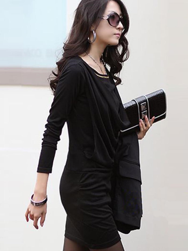 Above Knee Long Sleeve Sheath Pullover Dress
