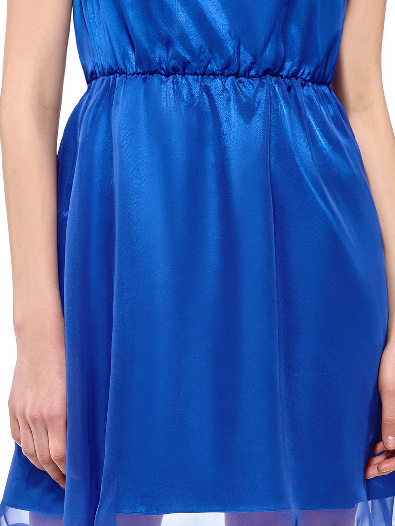 Pleated Knee-Length Sleeveless High Waist Color Block Dress