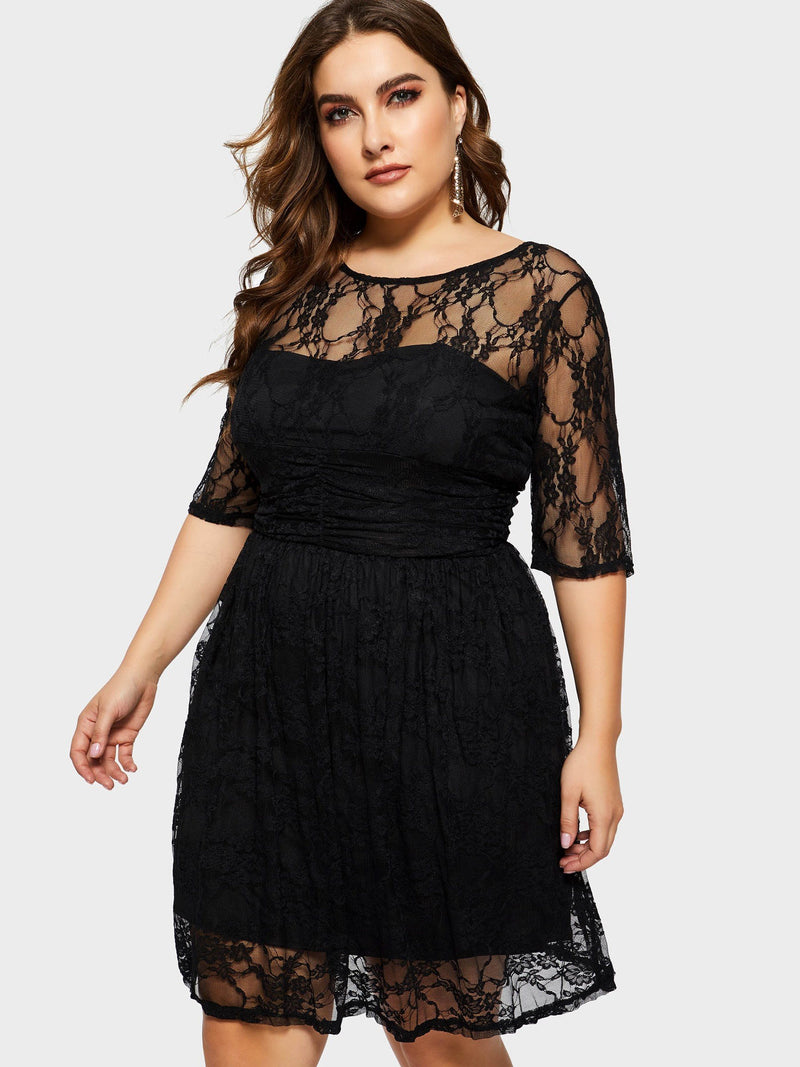 Plus Size Round Neck Half Sleeve Knee-Length Summer Regular Dress