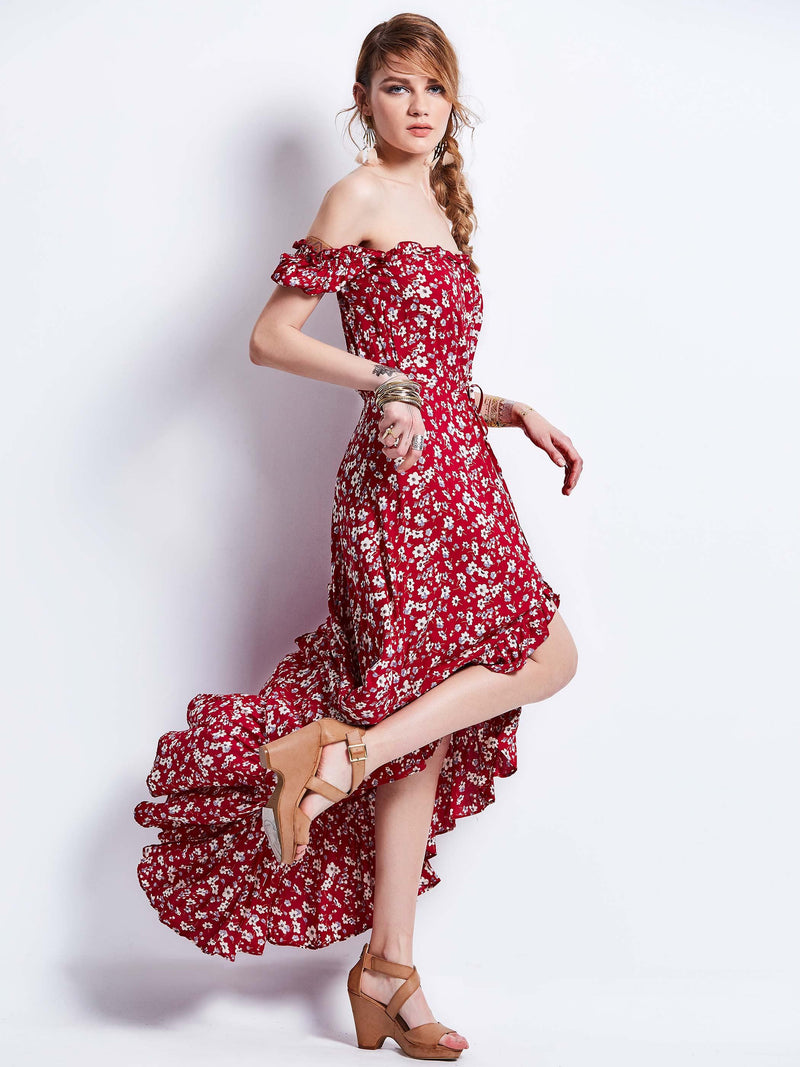 Size L Off Shoulder Floor-Length Short Sleeve Beach Look Floral Dress