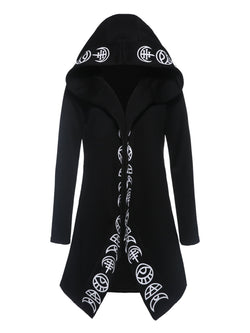 Plus Size 6XLPrint Cardigan Plain Hooded Loose Hoodies
