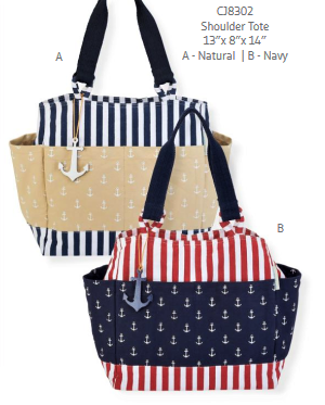 Beach tote - 'Anchors Aweigh' - Caribbean Joe #8302 - Nautical Elements