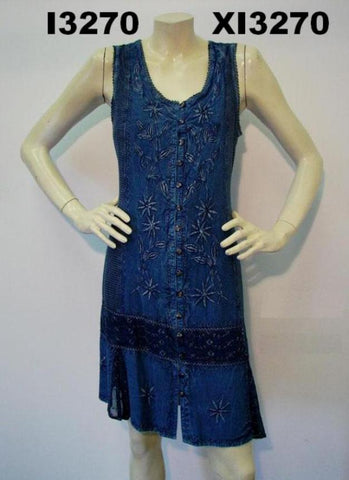 Cover-up dress - Blue chambray - Misses' - #I-3270 - Nautical Elements