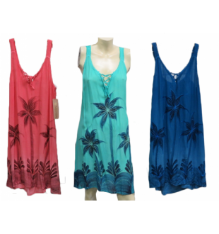 Swimsuit cover-up - palm trees - rose, aqua, navy