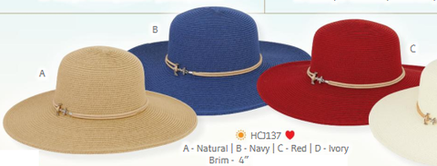 Hat, pressed-straw - Wide brim - Women's - Caribbean Joe #HCJ137