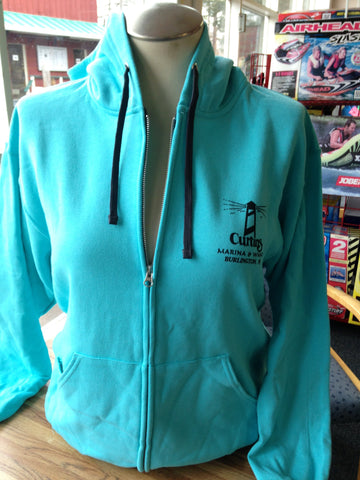 "Hooded sweatshirt - ""Curtin's Marina & Wharf"" - scuba blue"