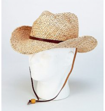 Straw hat, western style, with leather cord - Raffia #SB1135