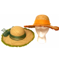 Fringed straw sun hat - Raffia #12223 - Nautical Elements