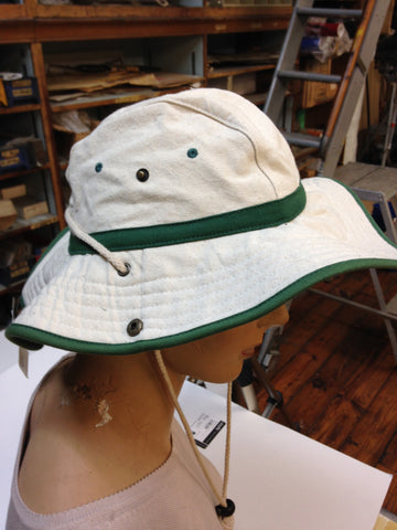 Crushable Cotton Camping Hat, Green and Tan