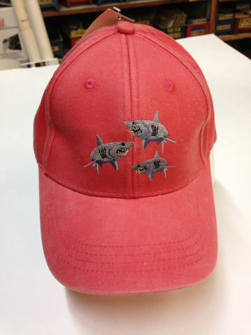 Child's Ball Cap with Sharks, Coral Colored
