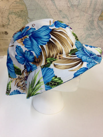 Bucket hat - Floral - Blue or pink