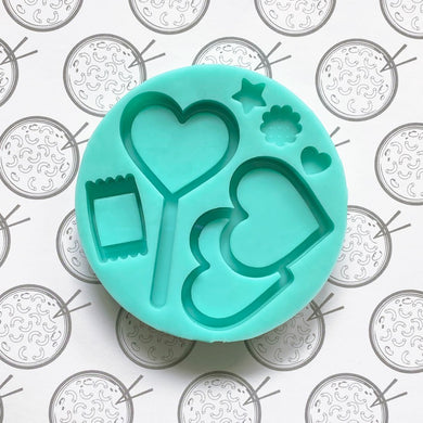 Valentine Lollipop and Double Heart Silicone Mold