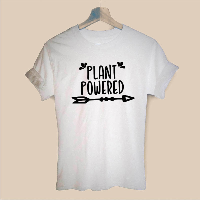 Plant Powered Tofu Never Screams Animal Vegetarian Vegan T Shirt Funny Teeshirt Women Clothing Casual Short Sleeve Tops Tees