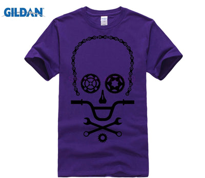Funny Skull design BMX biker parts T Shirt Men Bicycle Cycling fittings t-shirt MTB Rider teeshirt perfect graphic adult apparel