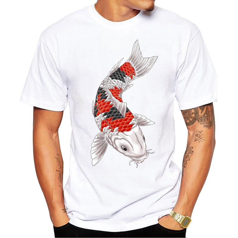 Japan Tattoo Style Japanese Koi Carp Fish T Shirts Men T-Shirt Male Male Slim Fit Unisex Short Sleeve Teeshirt Hanukkah