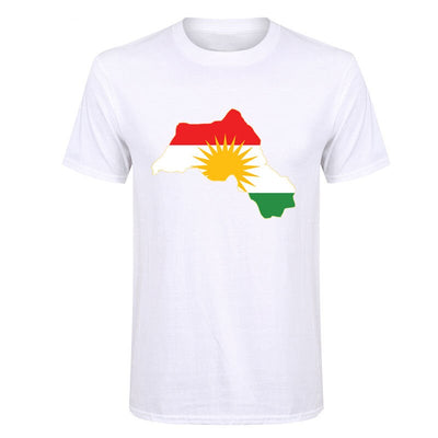Promotion Male Kurdistan Flag Map Design 2017 New Trendy Short Sleeve T-Shirt Round Collar T Shirt For Mens Youth Teeshirt Homme