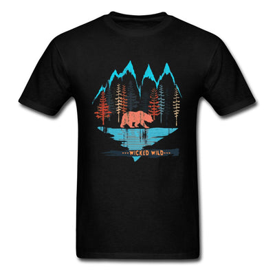 Wicked Wild Bear Forest Mountain Night Tshirts Oversized Fashion Short Sleeved Clothing Shirt Fitness Tshirt Street TeeShirt Men