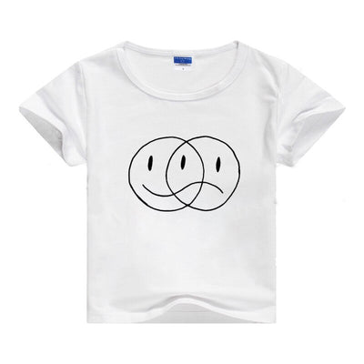 Smile Face Sad Print Baby Boys Girls Tshirt Breathable Vintage Leisure T-shirt O-neck Summer Tumblr Hipster Blouse Tops TeeShirt