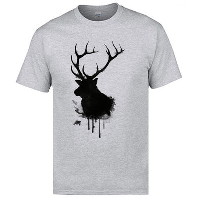 Black Ink Elk Design Tops Shirt Funny T Shirt Free Shipping Happy New Year Christmas Tshirts Good Quality Cotton Teeshirts