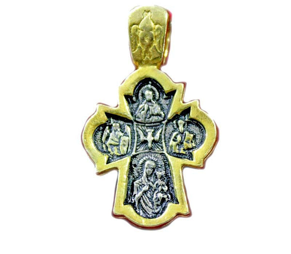 Cross Pendant | Silver & gold | 32mm - Free shipping