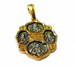 The resurrection of Christ pendant | silver and gold | 25 mm - Free shipping