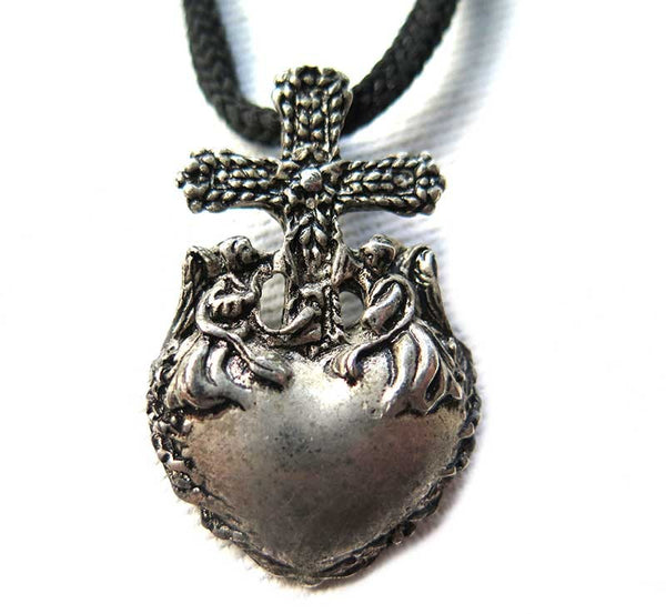 pendant cross with heart and 2 angels