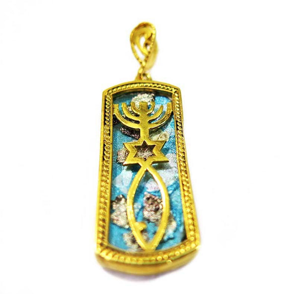 Grafted In | Gold pendant with Roman Glass 2