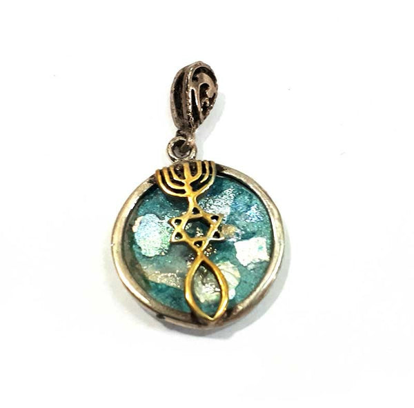 Grafted In | Silver& Gold pendant with Roman Glass - Free shipping