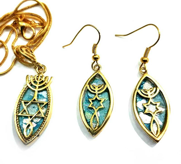 Grafted In |24k Gold plated pendant & Earrings with  Roman Glass - Free shipping