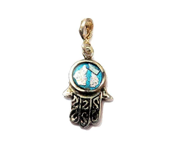 Hamsa Symbol with Roman glass | Silver pendant