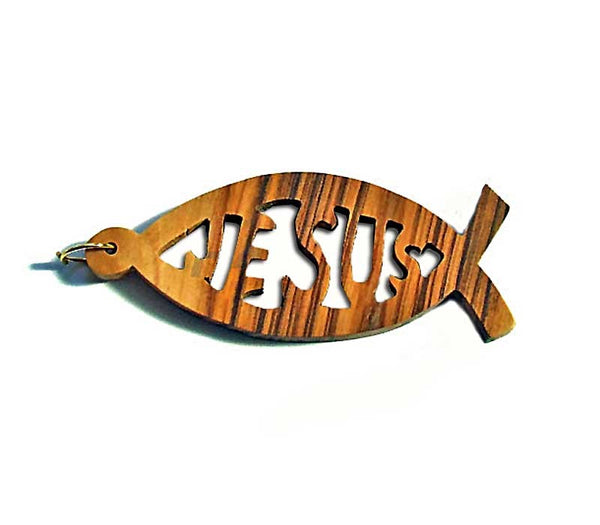 Jesus-Fish Pendant-Olive wood