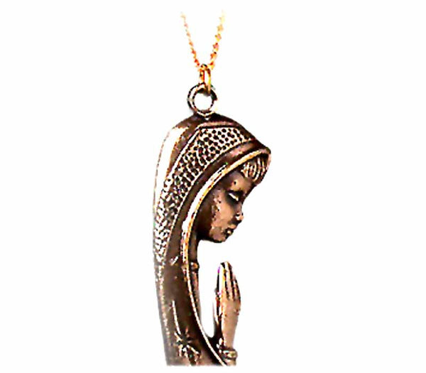 Praying Mary- 24k Gold plated pendant  - Free shipping