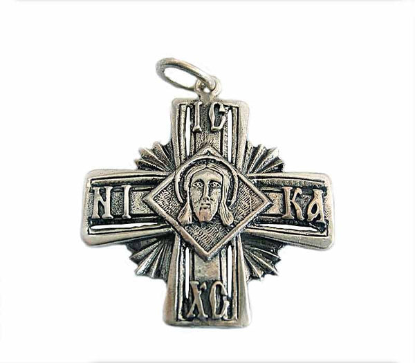Jesus face- silver Cross - Free shipping