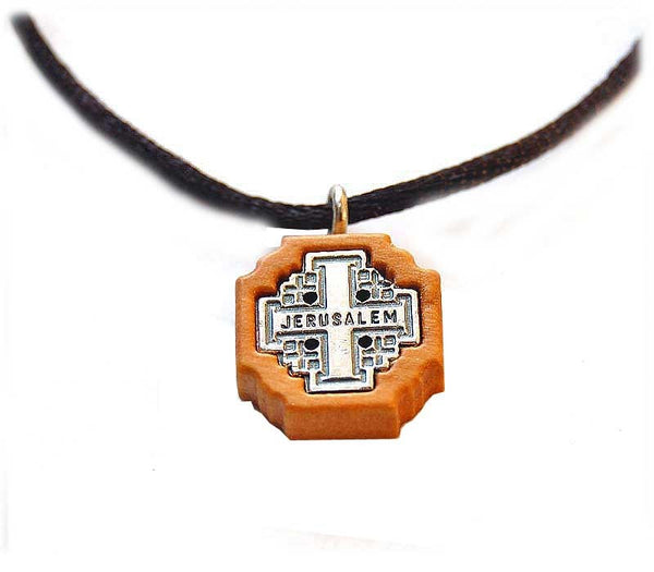 Jerusalem Cross Olive wood pendant