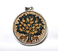 Mosaic Tree of Life pendant with small stones & Sterling silver 925 Handmade