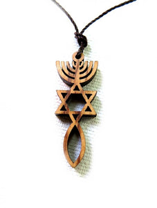 Grafted In | olive wood pendant - Free shipping