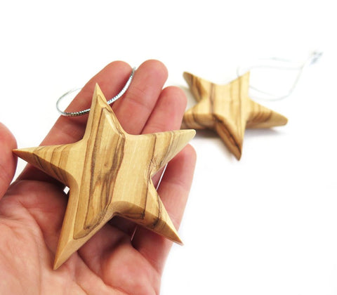 Stars- Christmas ornament | Olive wood - Bethlehem - Free shipping
