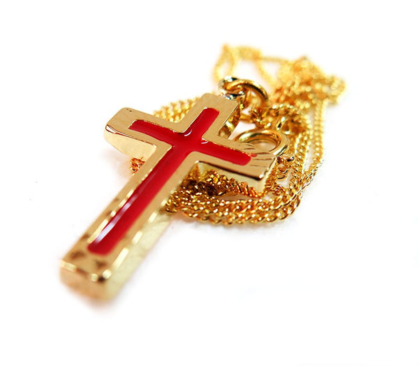 Red Enamel Gold plated Cross