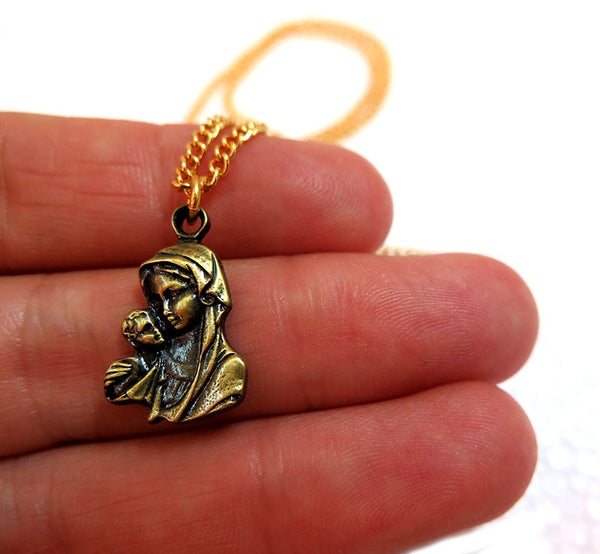 Mother Mary & Baby Jesus pendant - Gold plated - free shipping