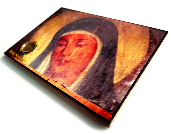 Mother Mary Icon & Jerusalem soil in a glass tube