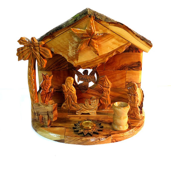 Musical nativity scene olive wood