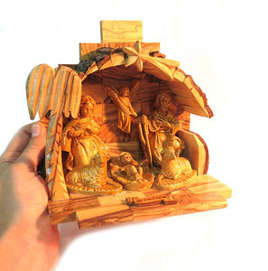 Nativity crib Olive wood - Free shipping
