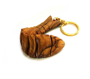Fish Key Chain - olive wood - Free shipping