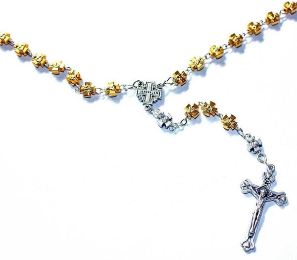 Rosary | Gold and silver tone| cross beads