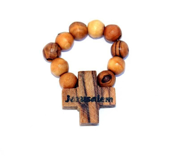 Rosary ring | olive wood beads | Free shipping