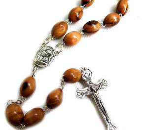 Olive wood oval beads Rosary
