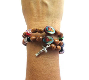 Bracelet Rosary- olive wood beads & icons