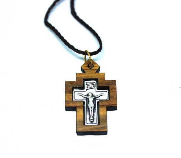 Olive wood & Metal Cross pendant