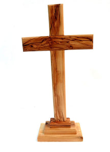 "Cross on base | Olive wood | 28 c""m 11 inches"